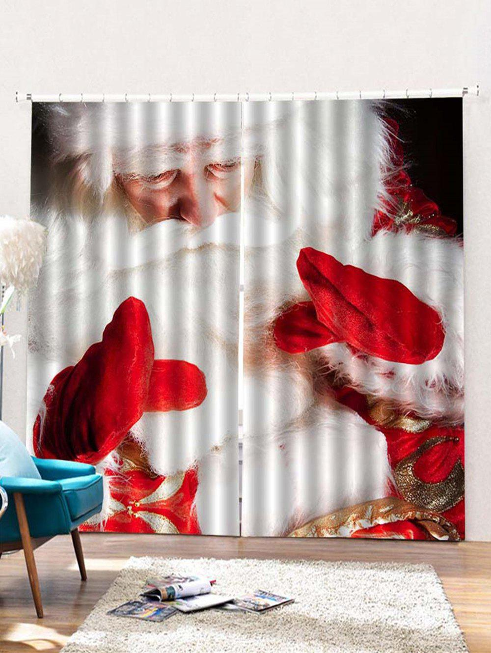Trendy 2PCS Father Christmas Print Window Curtains