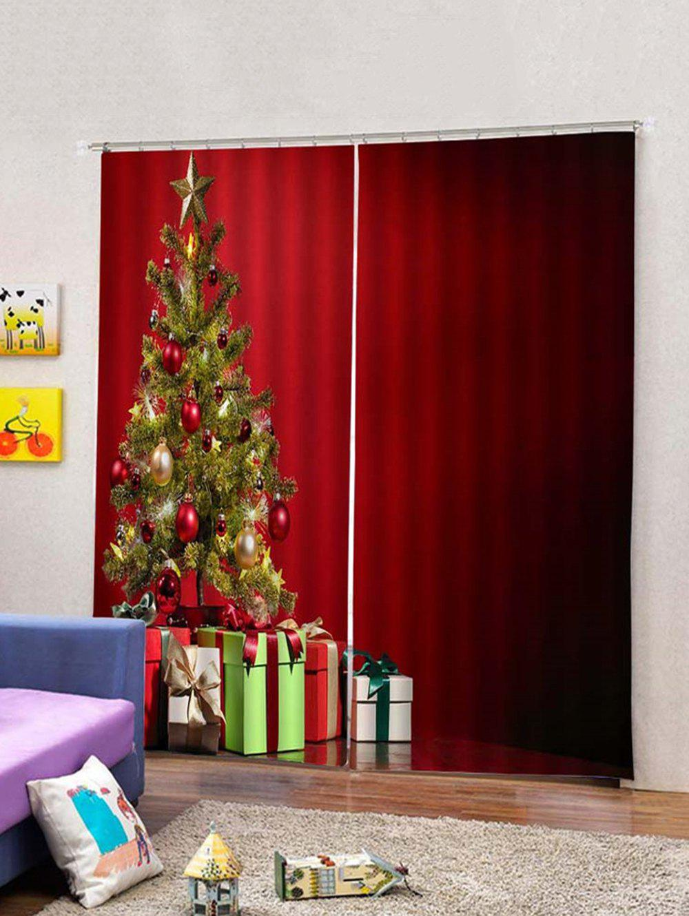 Affordable 2PCS Christmas Gift Tree Window Curtains