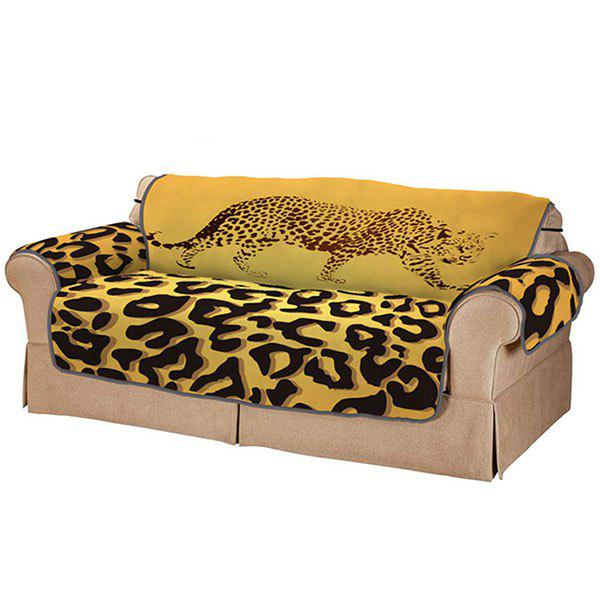 Affordable 3D Digital Printed Sofa Cover Yellow Leopard Pattern Cushion