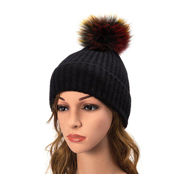 Outfit Wool Cap Raccoon Fur Ball Cap Color Ball Cap Hat Autumn And Winter  Knit Warm 03c1d34e4c2a