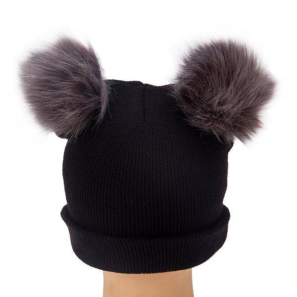 Outfits Wool Cap Double Fur Cute Ladies Knit Hat