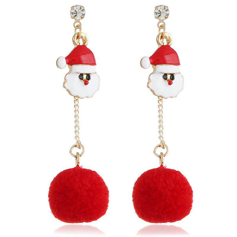 Outfit Red Hair Ball Long Tassel Earrings