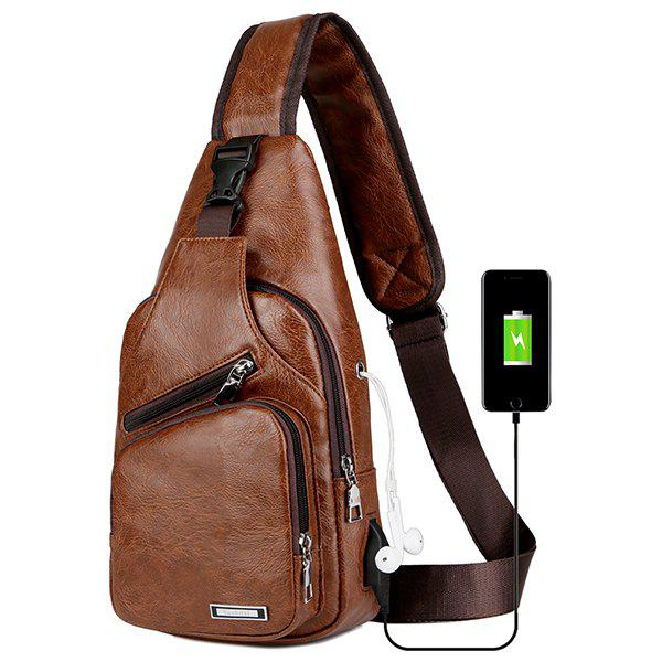 496ce96a3e4d 35% OFF   2018 Usb Charging Chest Bag Casual Fashion In Coffee ...