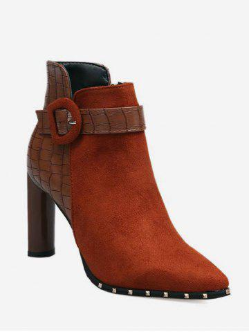 Contrast Pointed Toe Heeled Ankle Boots