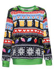 3D Digital Printing Women's Round Neck Loose Long-sleeved Sweater -