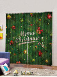 2PCS Merry Christmas Bell Candy Cane Window Curtains -