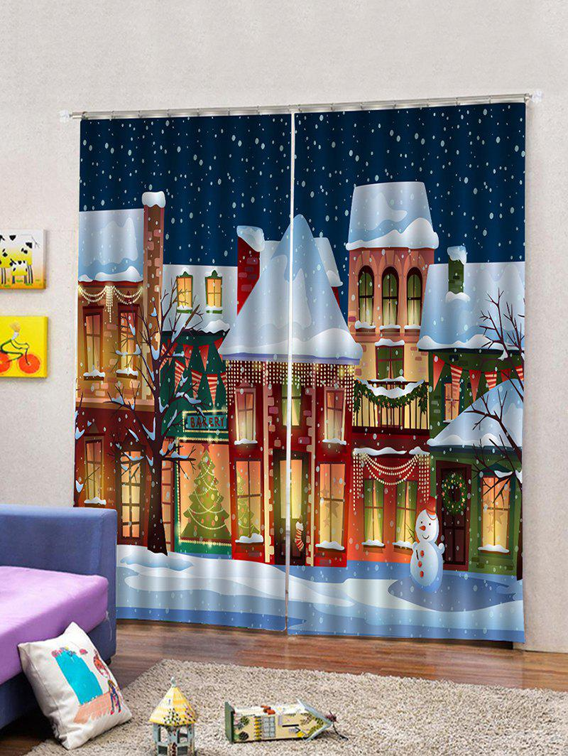 Chic 2PCS Christmas Snowman Night Window Curtains
