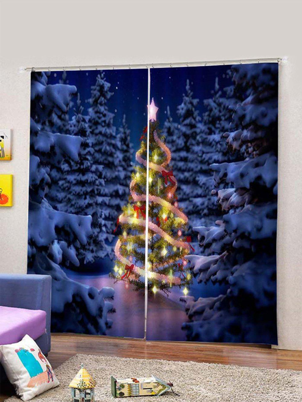 Outfits 2PCS Christmas Tree Design Window Curtains