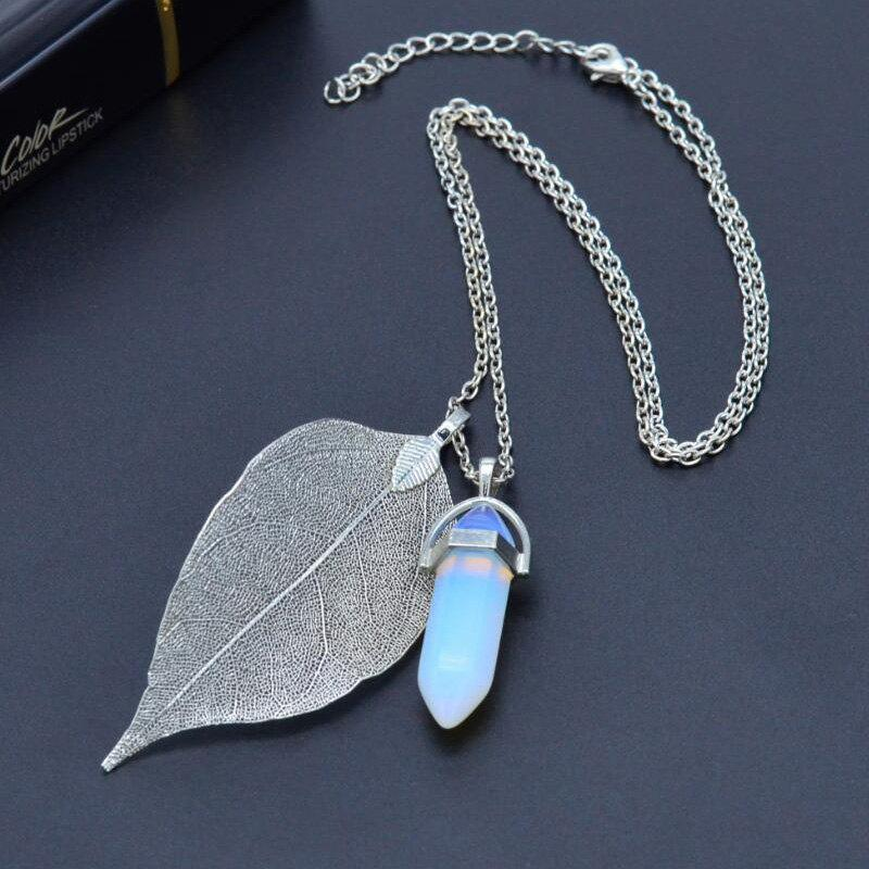 New Natural Leaf Necklace Hexagonal Crystal Pendant
