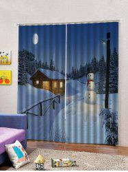Christmas Night Snowman Pattern 2PCS Window Curtain -