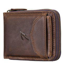 Retro Top Layer Leather Multi-function Zippered Coin Card Wallet -