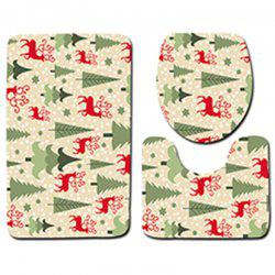 Christmas Floor Mat Three-piece Toilet Seat Pad Bathroom Anti-slip Carpet -