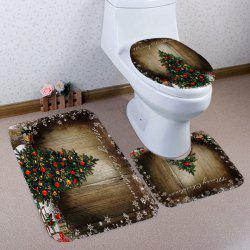 Christmas Three-piece Toilet Seat Bathroom Anti-slip Mat -