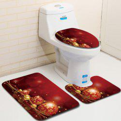 Three-piece Toilet Seat Bathroom Anti-slip Mat Carpet for Christmas -