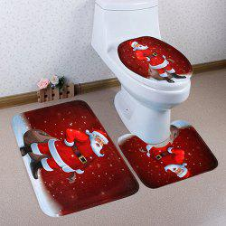 Christmas Floor Mat Three-piece Set Toilet Seat Pad Bathroom Anti-slip Carpet -