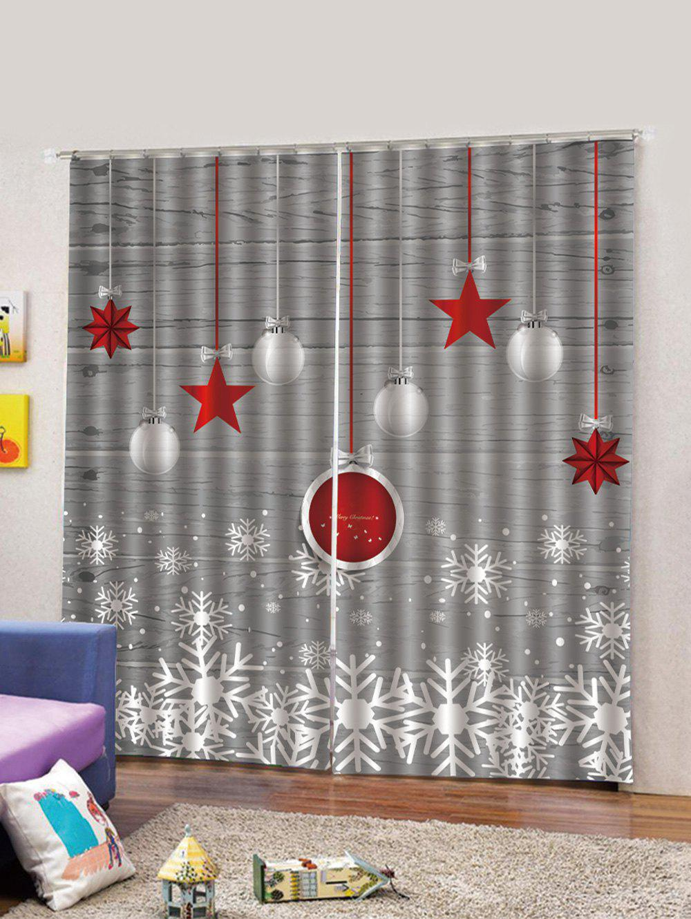 Outfits 2PCS Christmas Balls and Stars Pattern Window Curtains