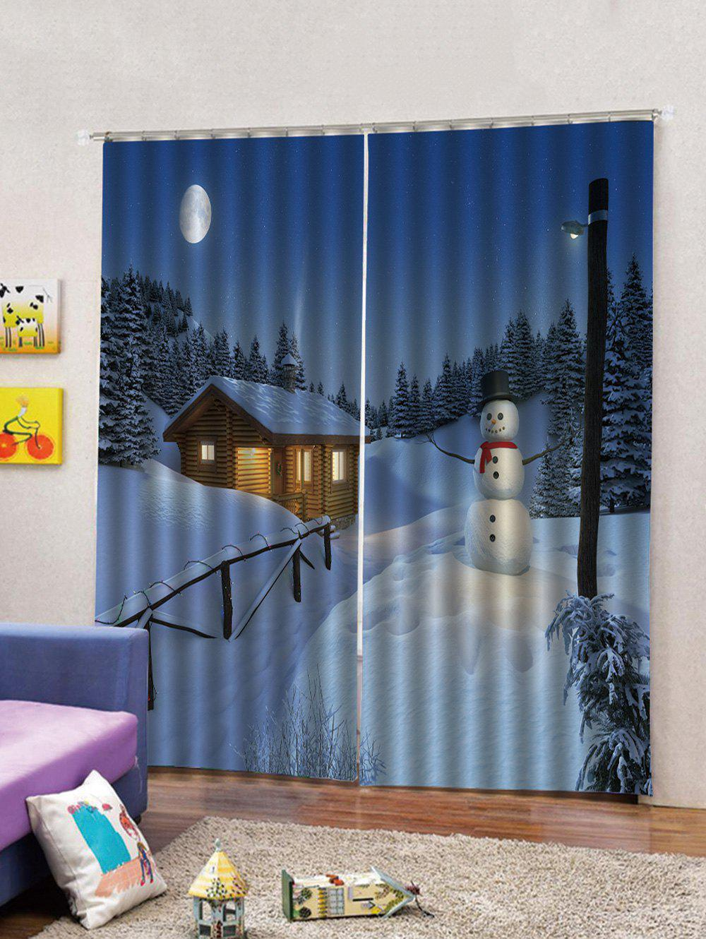 Latest Christmas Night Snowman Pattern 2PCS Window Curtain