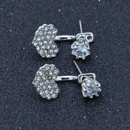 Sale Simple Full Diamond Heart-shaped Fashion Stud Earrings