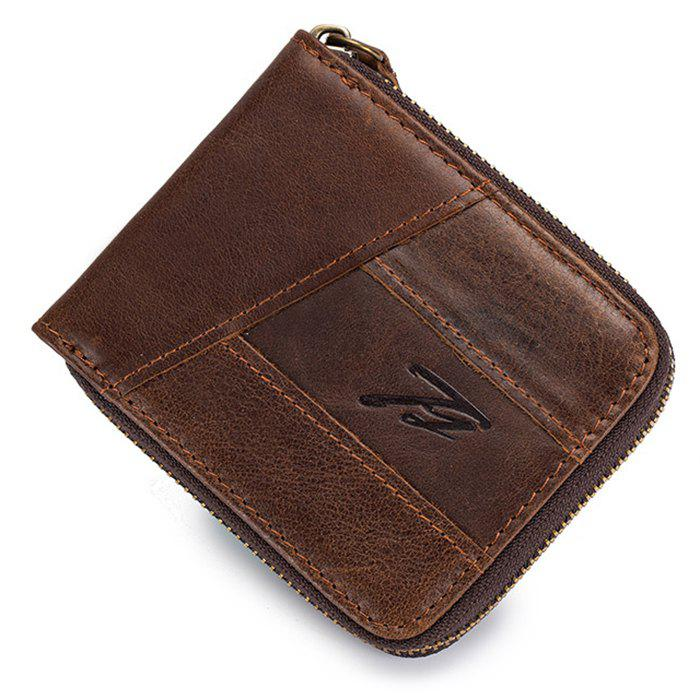 Affordable Men's Leather Retro Casual Coin Zipper Wallet