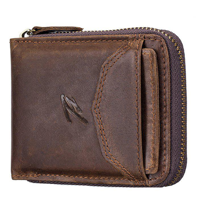 Latest Retro Top Layer Leather Multi-function Zippered Coin Card Wallet