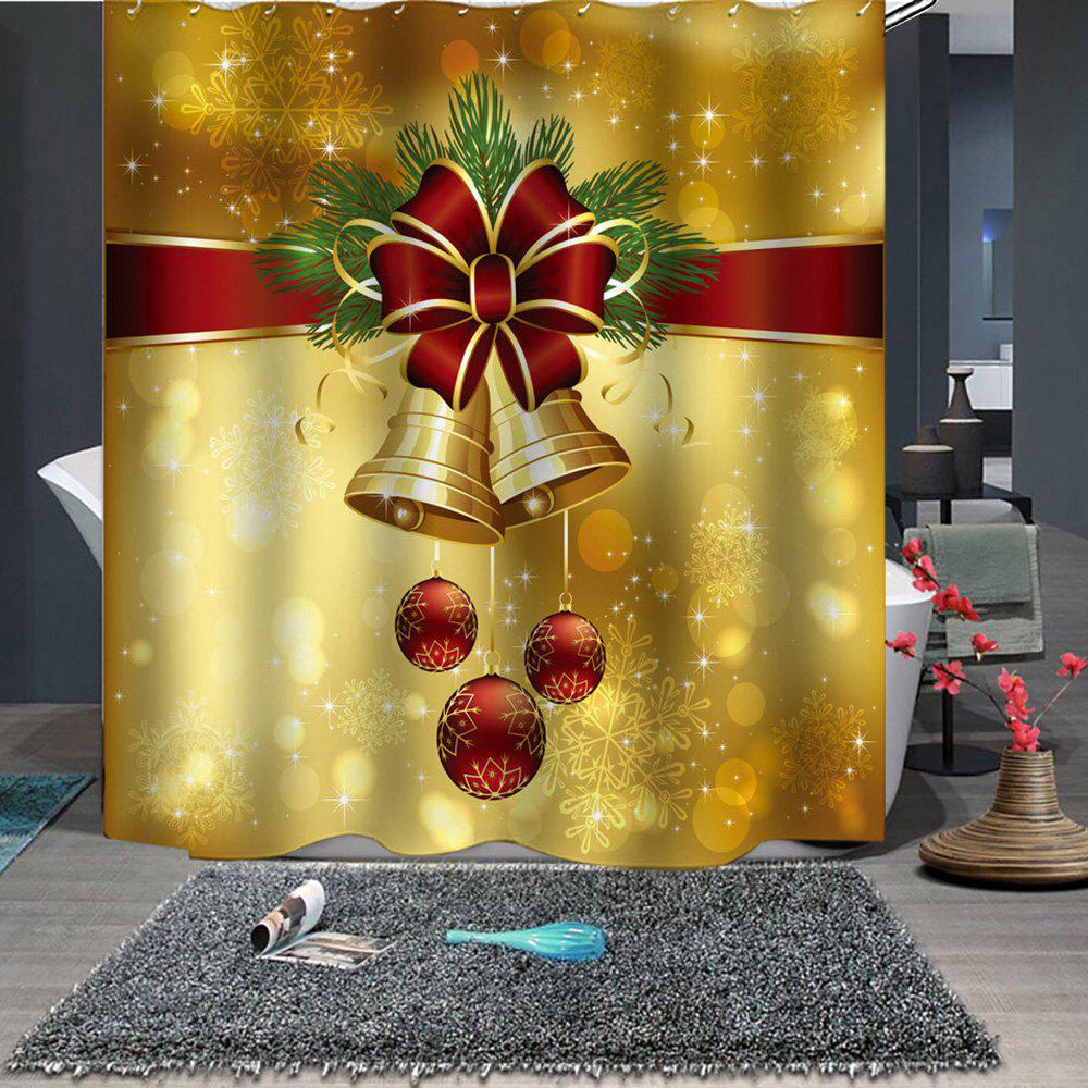 Christmas Print Pattern Waterproof Mildew Breathable Bathroom Partition Shower Curtain