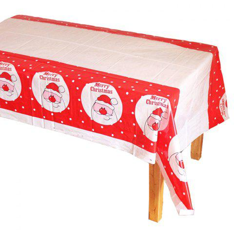 Christmas Tablecloth Disposable PE Plastic RED