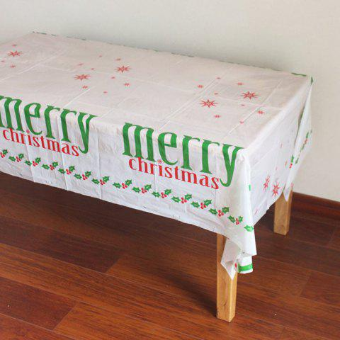 Christmas Tablecloth Disposable PE Plastic WHITE
