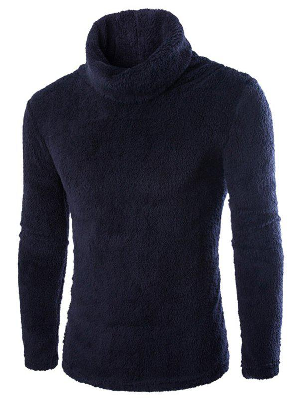 Fashion Men's Sweater Warm Pile Collar Solid Color Thickening