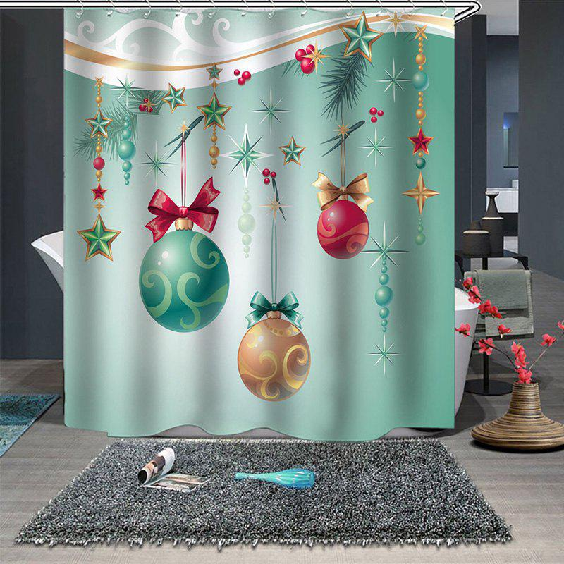 Christmas Print Pattern Bathroom Waterproof Breathable Mildew Partition Shower Curtain