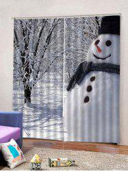 Snowman Pattern 2PCS Window Curtains -