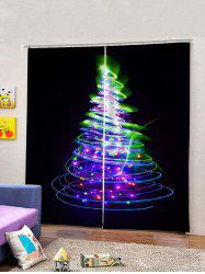 2Pcs Covered Lighting Christmas Tree Window Curtains -