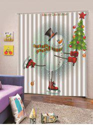 2PCS Skating Snowman Christmas Tree Window Curtains -