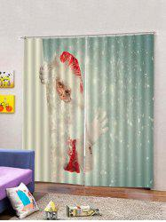 2PCS Glasses Father Christmas Window Curtains -