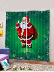 2Pcs Santa Carrying Christmas Package Window Curtains -