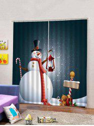 2Pcs Christmas Snowman with Oil Lamp Window Curtains -