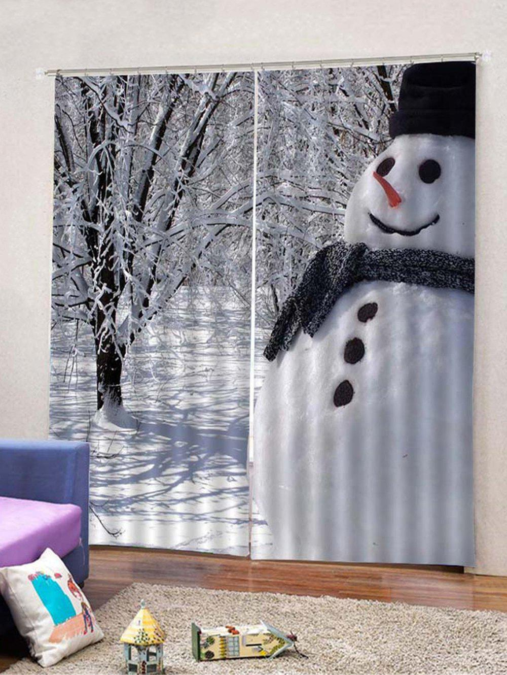 Shops Snowman Pattern 2PCS Window Curtains