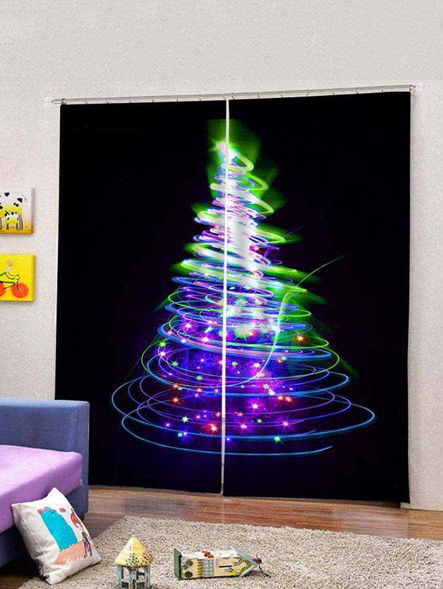 Buy 2Pcs Covered Lighting Christmas Tree Window Curtains
