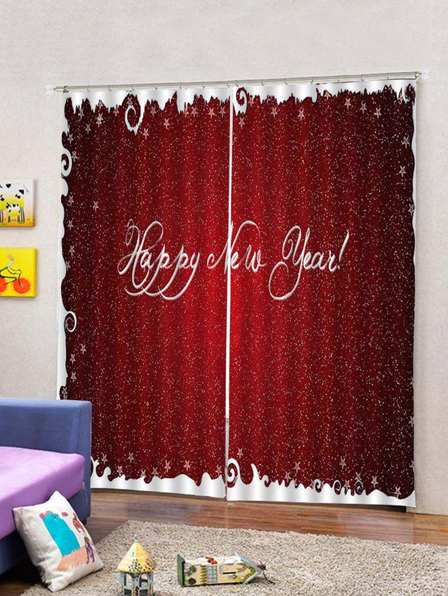 Fashion 2Pcs Happy New Year Letter Window Curtains