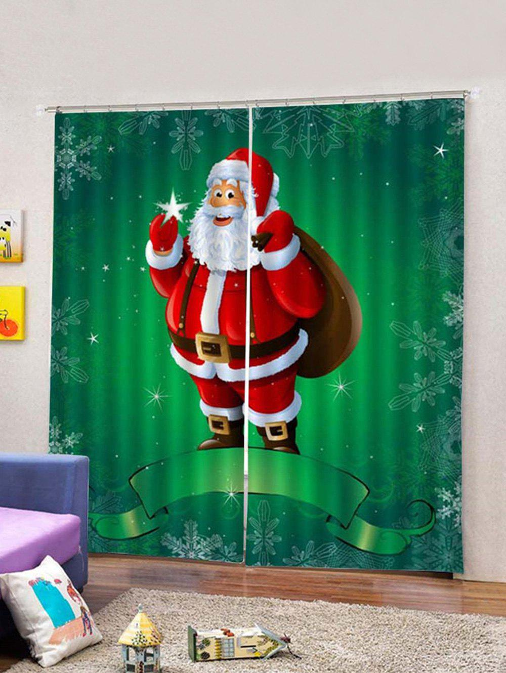 Latest 2Pcs Santa Carrying Christmas Package Window Curtains