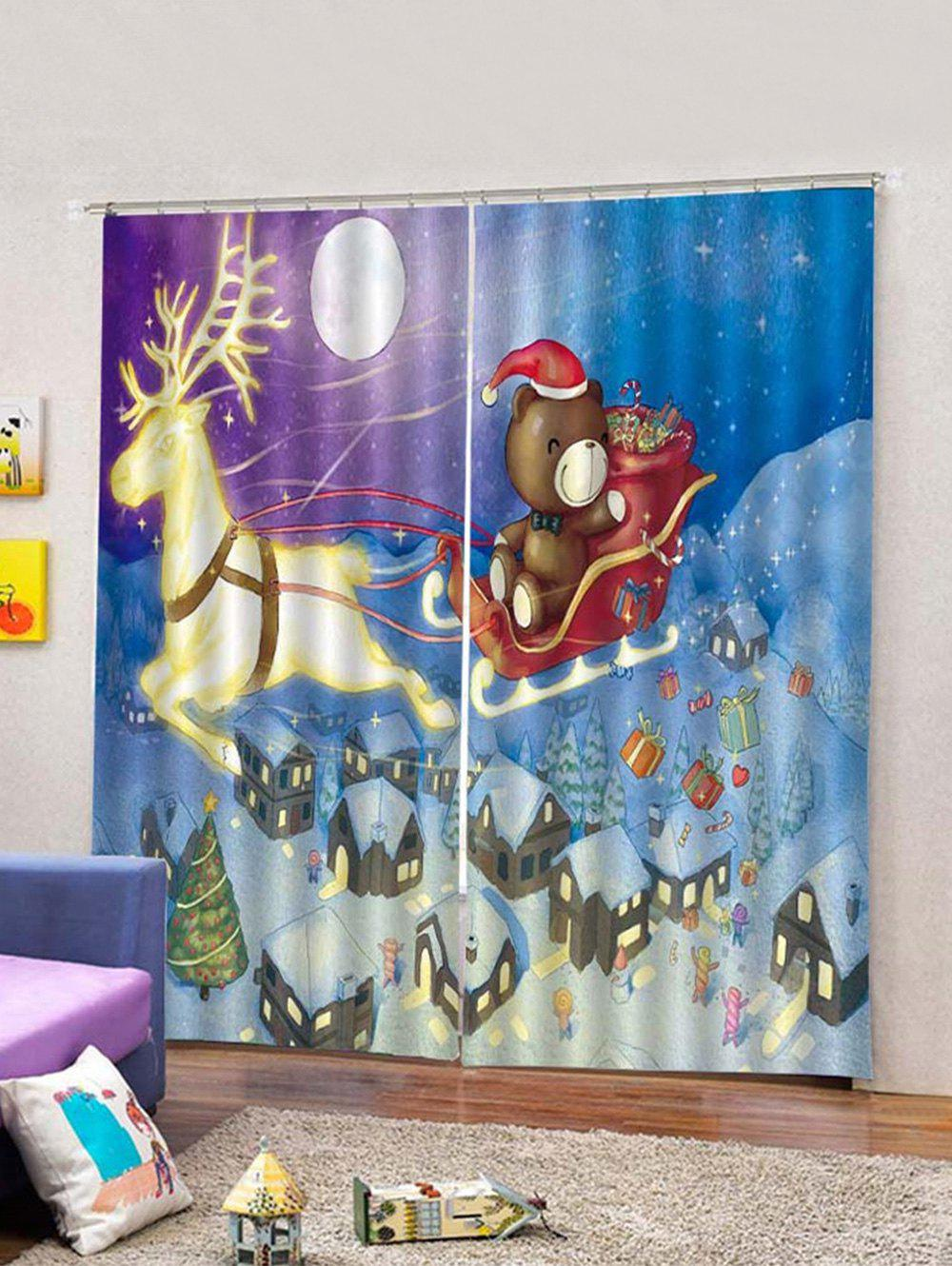 Store 2Pcs Moonlight Christmas Car and Deer Window Curtains
