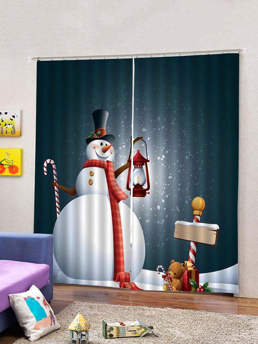 Trendy 2Pcs Christmas Snowman with Oil Lamp Window Curtains