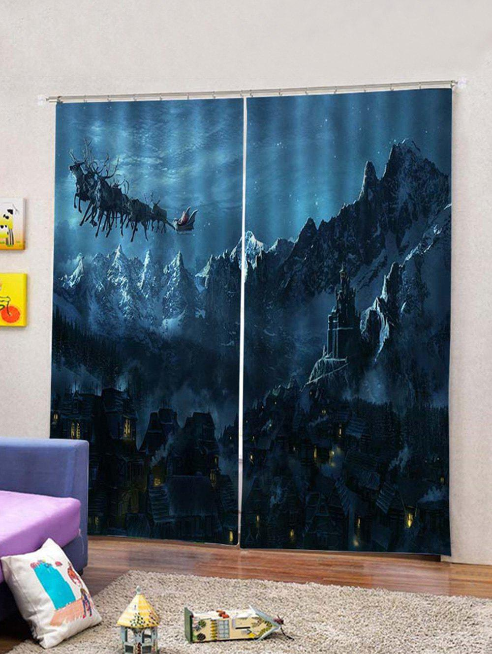 Discount 2Pcs Christmas Night and Town Window Curtains