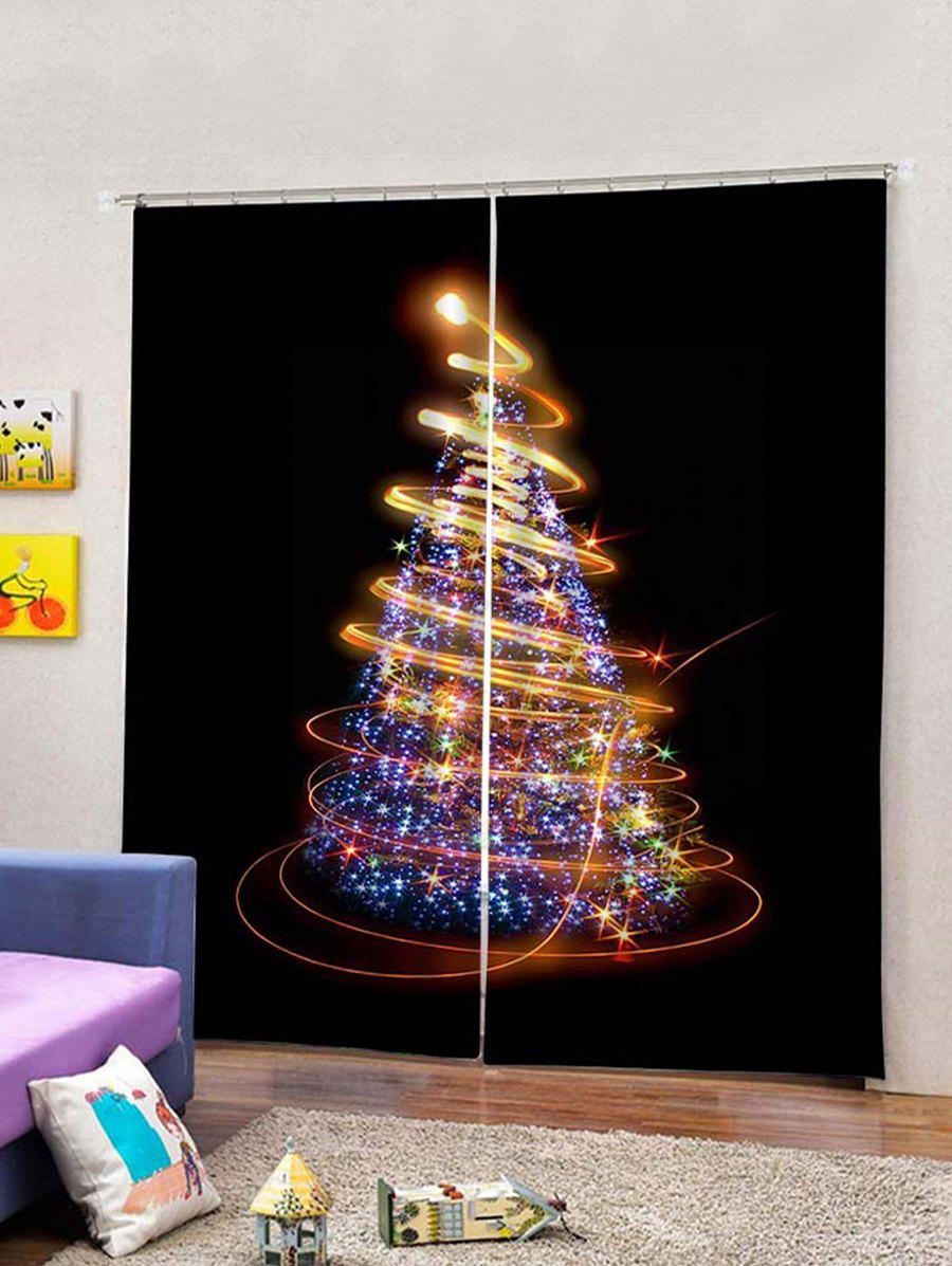 Online 2Pcs Sparkling Christmas Tree Light Window Curtains