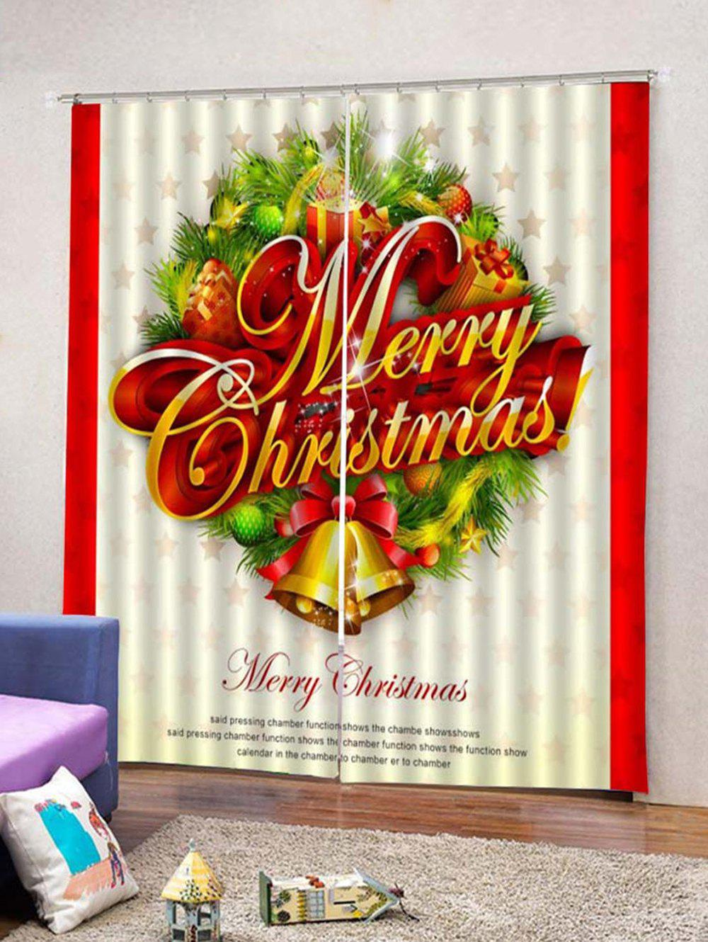 Buy 2Pcs Christmas Letter and Bells Window Curtains