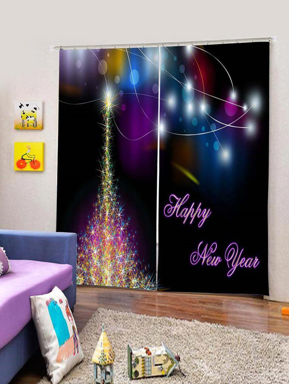 Fancy 2PCS Happy New Year Christmas Window Curtains