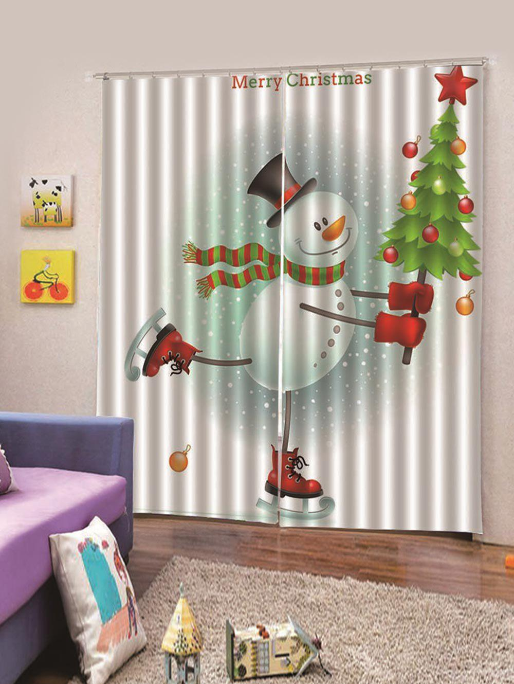 Fancy 2PCS Skating Snowman Christmas Tree Window Curtains