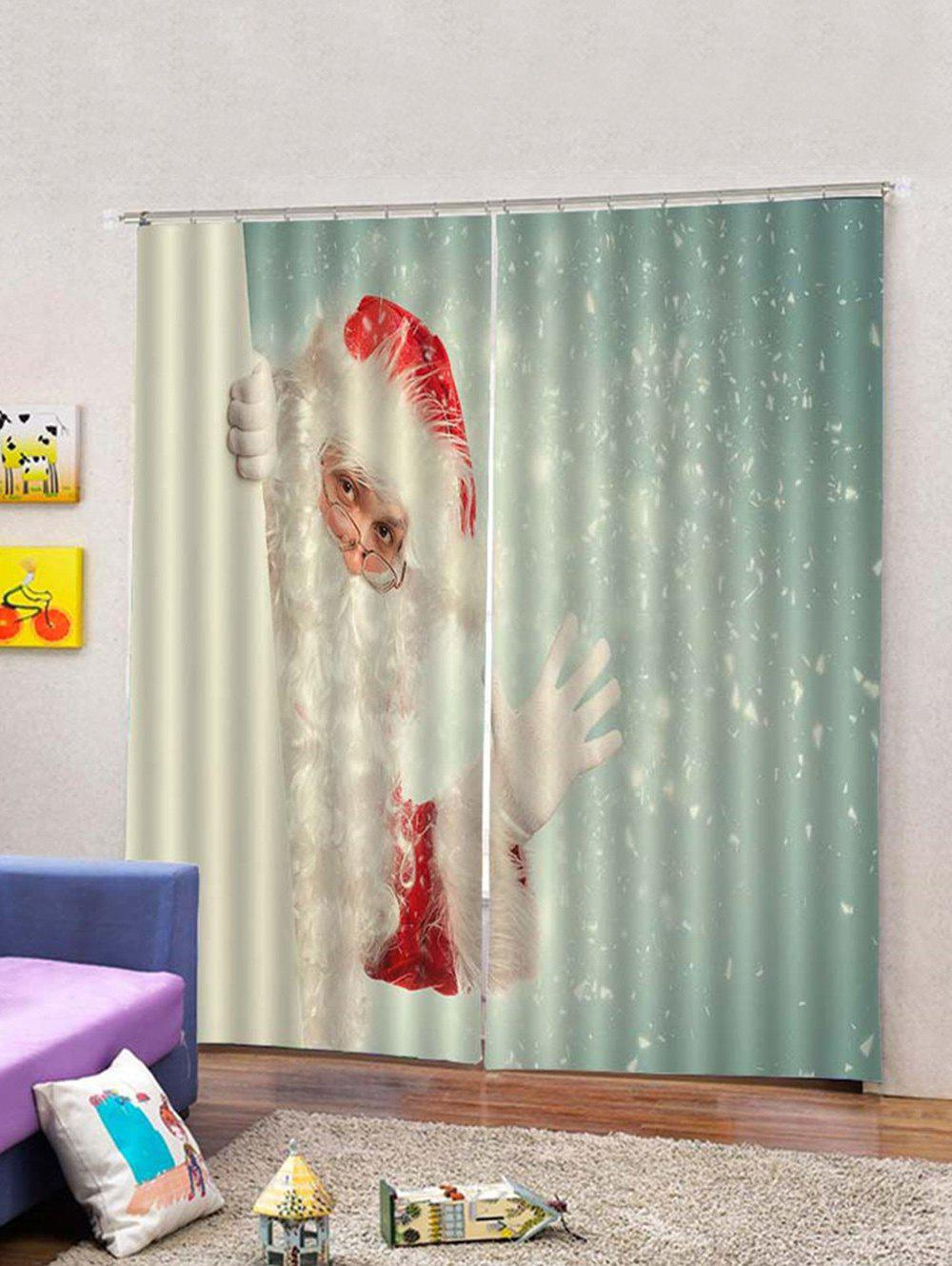 Fancy 2PCS Glasses Father Christmas Window Curtains