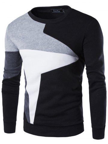 Men's Stitching Contrast Color Casual Long Sleeve Pullover Sweater