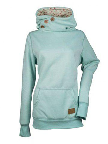Fashion Solid Color Three Buttons Spelled Leather Long Sleeve Pocket Sweater - PALE BLUE LILY - M