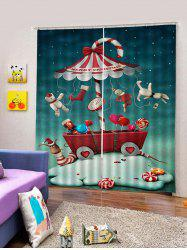 2Pcs Christmas Candy Car with Toys Window Curtains -